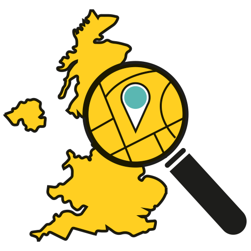Map of the United Kingdom with a magnifying glass