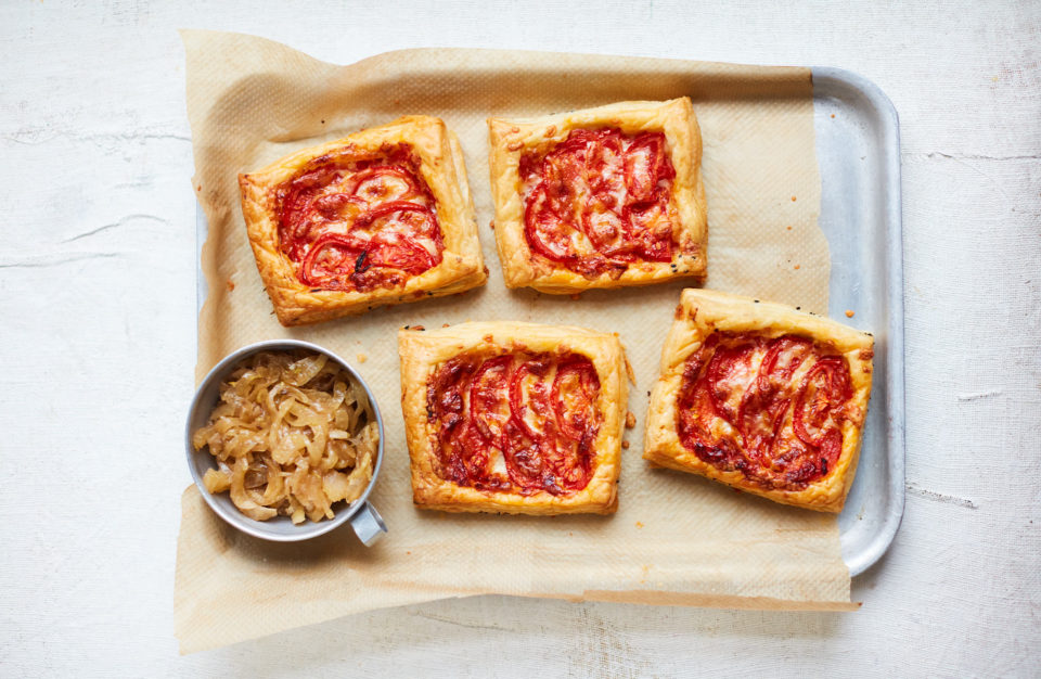Image of spiced tomato and gruyere tartlets with fennel jam