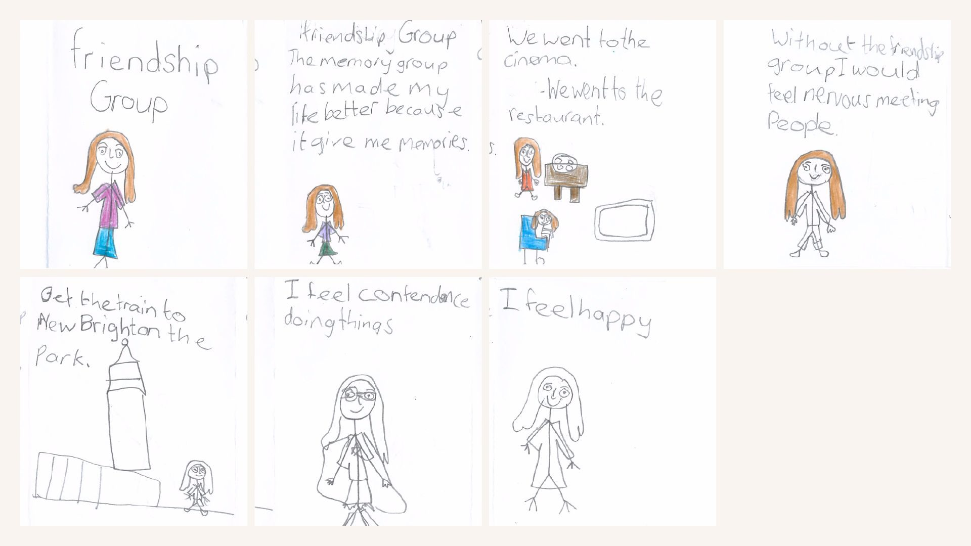 A child's cartoon strip explaining friendship groups and how it makes them feel happy making memories with other people
