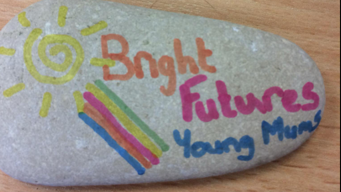 A stone with the Bright Futures logo